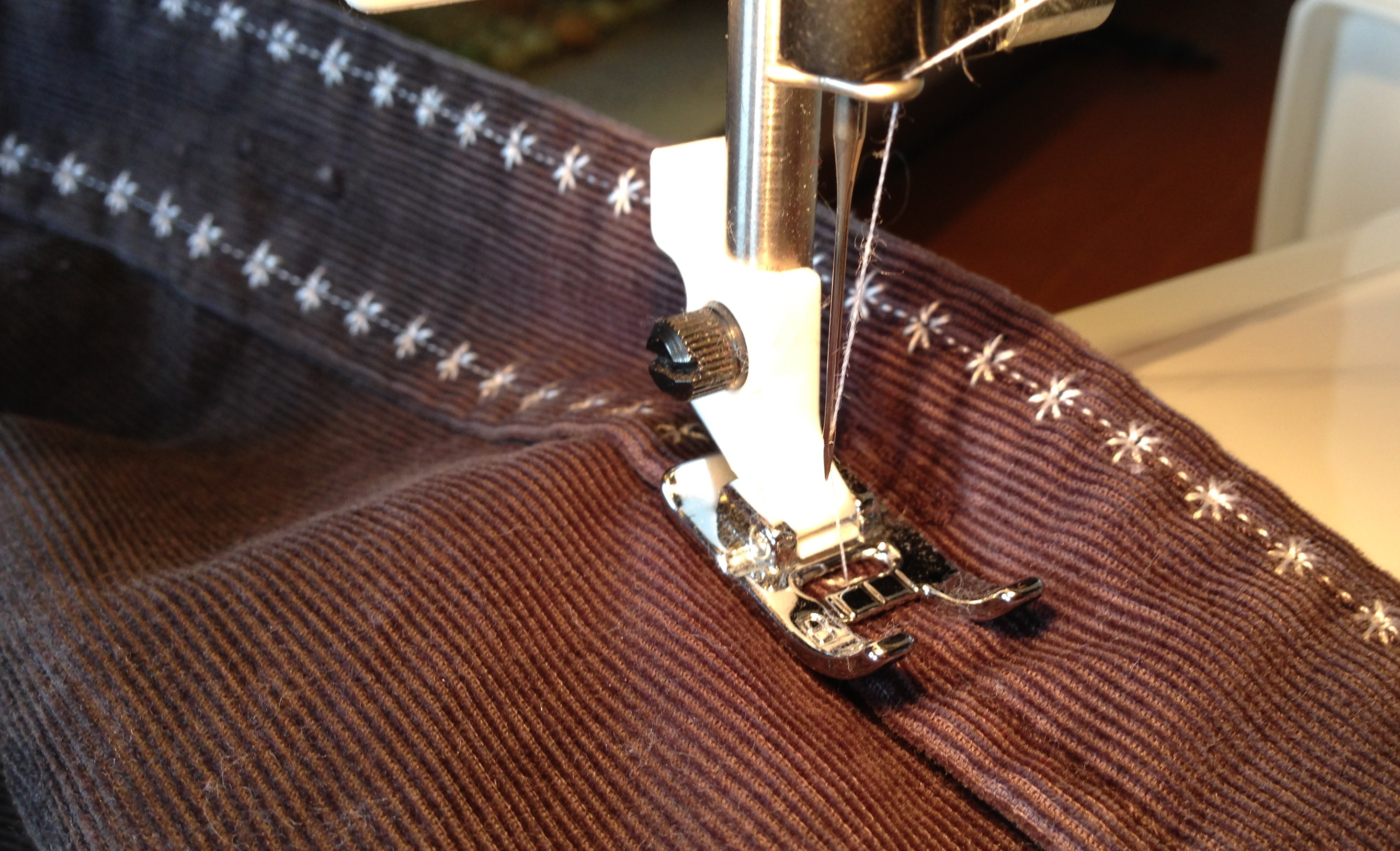 Stitching on cordoroy shirt