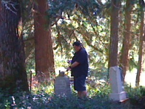 I think he found it behind that gravestone!