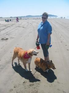 Dinah, Pancho and me at Long Beach, WA