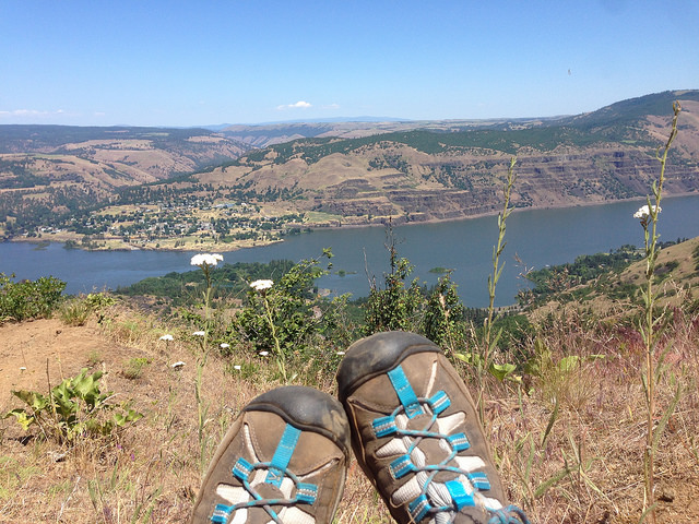 Boots resting with a view
