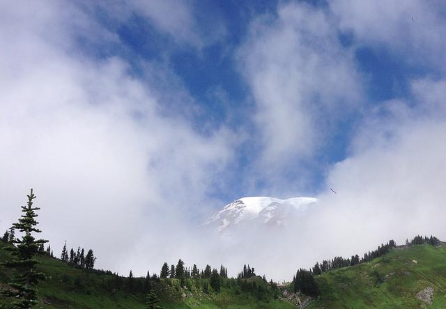 Mt Rainier peeking out through the clouds