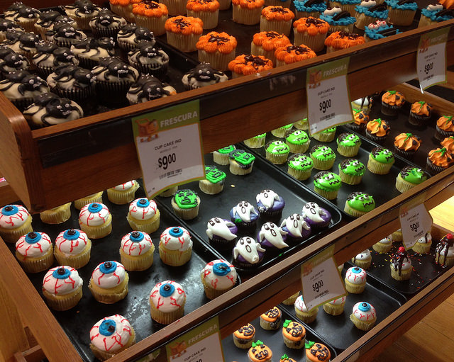 Cupcakes at the bakery (these are decorated for Halloween)