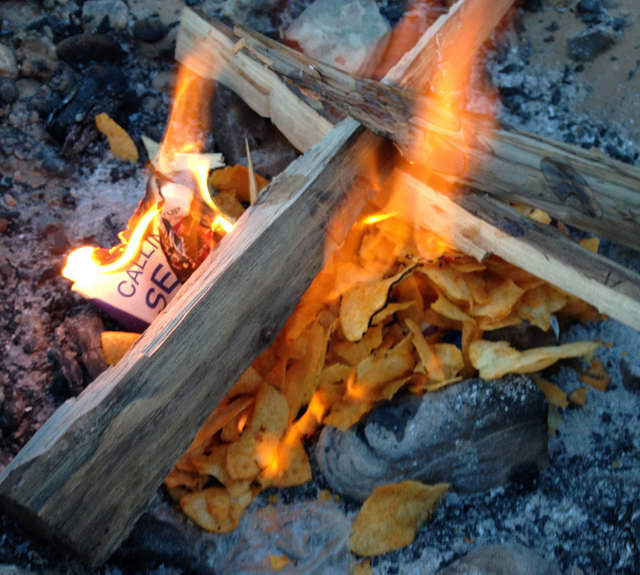 Campfire with bbq chips