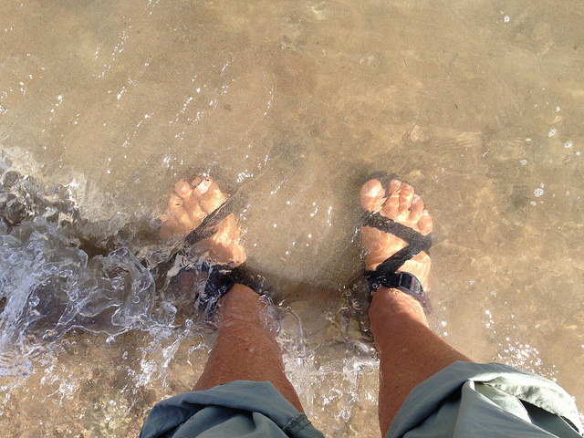 feet in river at rotary park