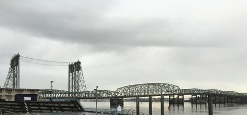 Looking out at the I-5 drawbridge over the Columbia River on a recent dark and dreary day. This is not a black and white photo - it really did look like this!